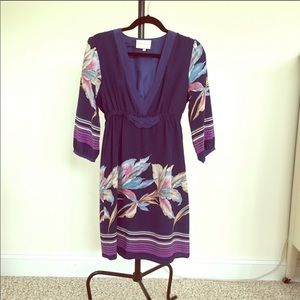 Yumi Kim Silk Navy Floral V Neck Dress